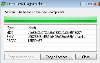 Generate MD5 SHA1 and CRC32 hashes for any file