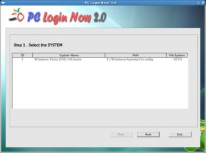 Pcloginnow screen for selecting OS