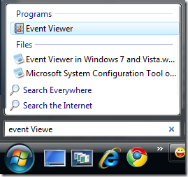 Opening Even Viewer in Vista or Windows7