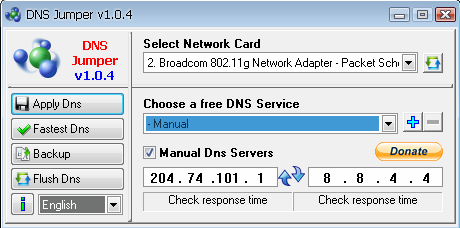 Switching between the DNS servers