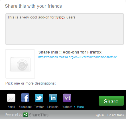 ShareThis addon for mozilla firefox to share things on web