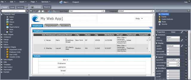 Quick Web Application Creation With Wavemaker
